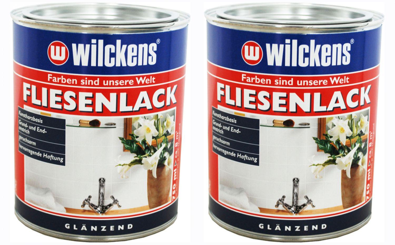2 x 750ml wilckens fliesenlack wei gl nzend fliesenfarbe bad acrylharz lack ebay. Black Bedroom Furniture Sets. Home Design Ideas