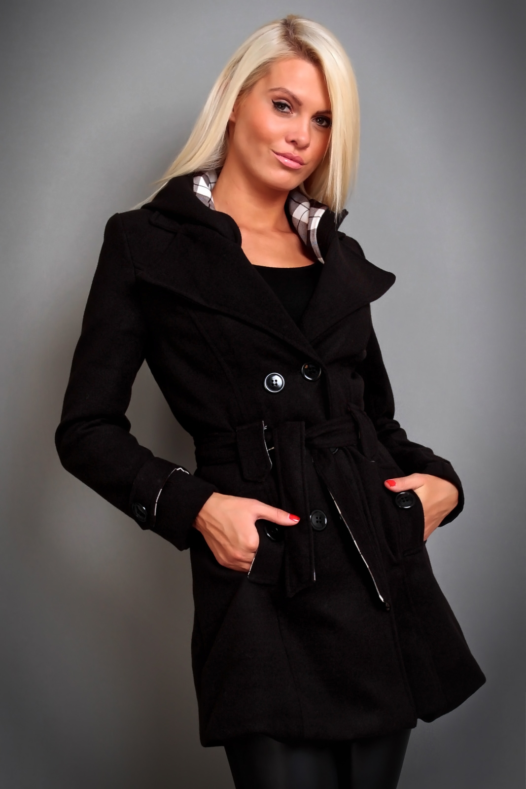 damen winter jacke mantel wolljacke mit kapuze 5 farben ebay. Black Bedroom Furniture Sets. Home Design Ideas