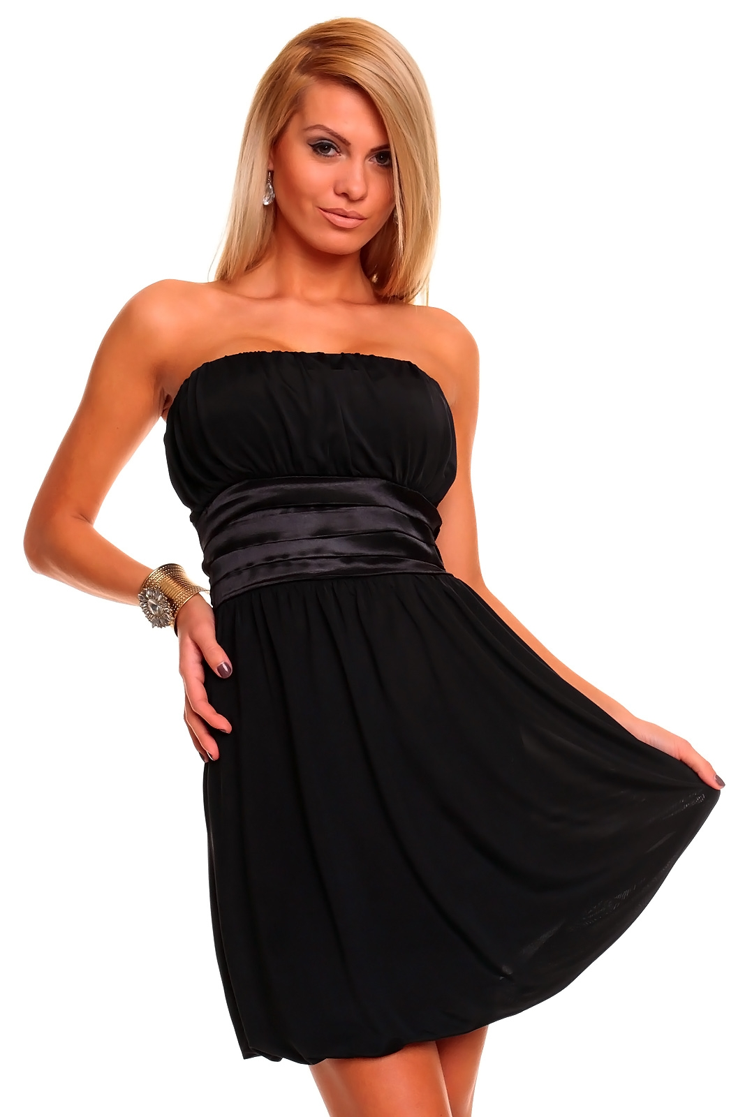 bandeau kleid ballonkleid strandkleid partykleid 4 farben ebay. Black Bedroom Furniture Sets. Home Design Ideas