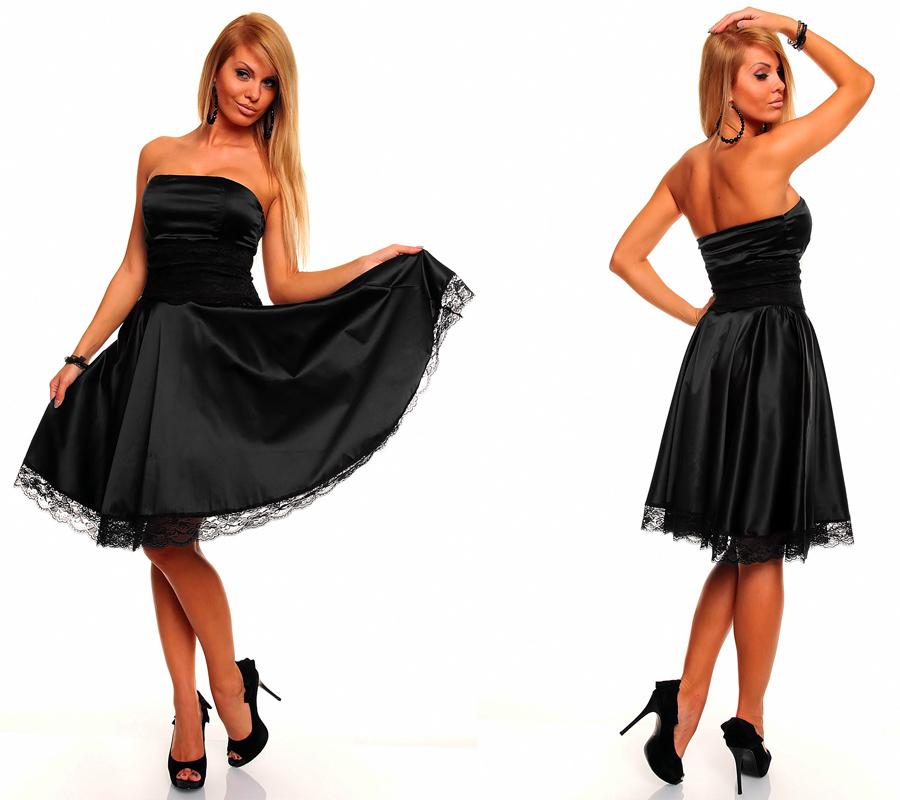 Knielanges Bandeau Kleid Satinkleid Ballkleid Abendkleid ...