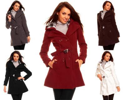 damen winter jacke mantel wolljacke trenchcoat mit kapuze ebay. Black Bedroom Furniture Sets. Home Design Ideas