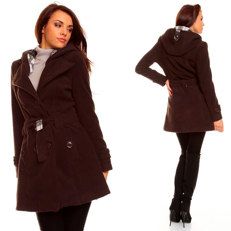 damen winter jacke mantel wolljacke trenchcoat mit kapuze. Black Bedroom Furniture Sets. Home Design Ideas