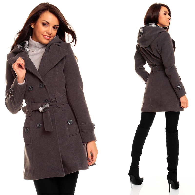 damen winter jacke mantel wolljacke trenchcoat mit kapuze ebay. Black Bedroom Furniture Sets. Home Design Ideas