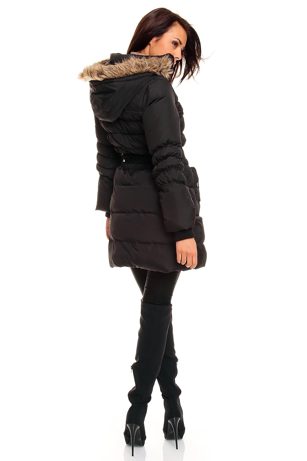 fresh made daunen steppmantel mantel wintermantel jacke mit kapuze sw ebay. Black Bedroom Furniture Sets. Home Design Ideas