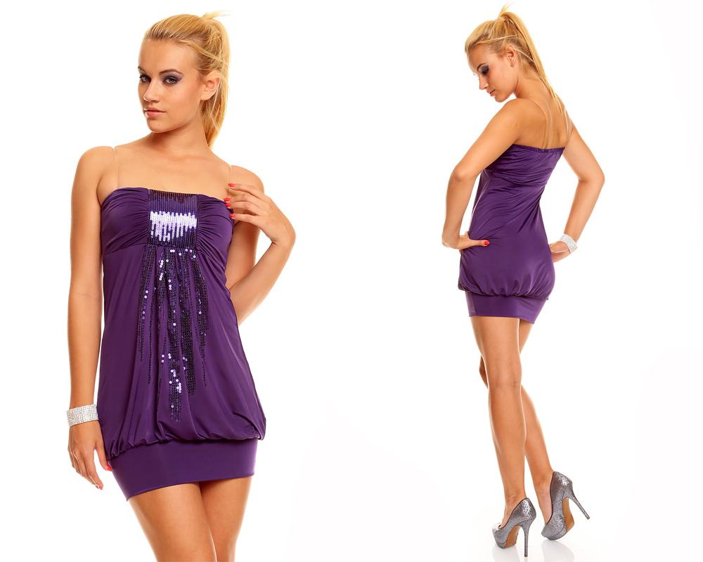 Bandeau Kleid Minikleid Longtop Top Partykleid Discokleid ...