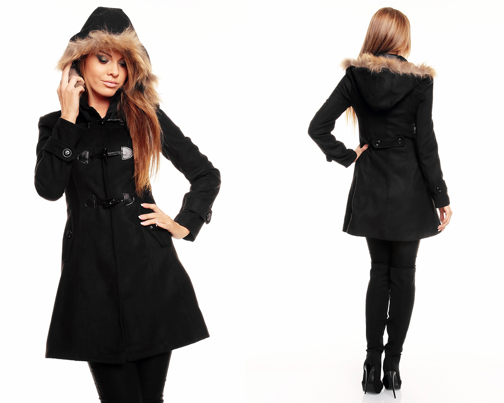 damen winter jacke mantel wolljacke trenchcoat mit fell kapuze ebay. Black Bedroom Furniture Sets. Home Design Ideas