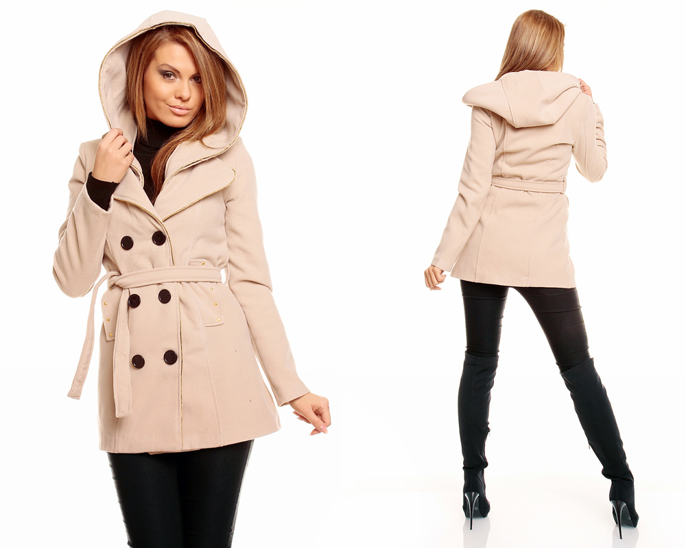 ladies winter jacket coat short coat wool jacket trench coat hooded ebay. Black Bedroom Furniture Sets. Home Design Ideas