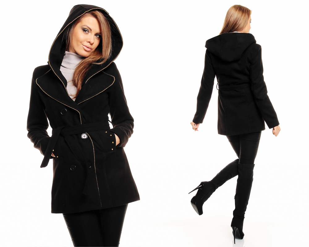 damen winter jacke mantel kurz mantel wolljacke trenchcoat mit kapuze ebay. Black Bedroom Furniture Sets. Home Design Ideas
