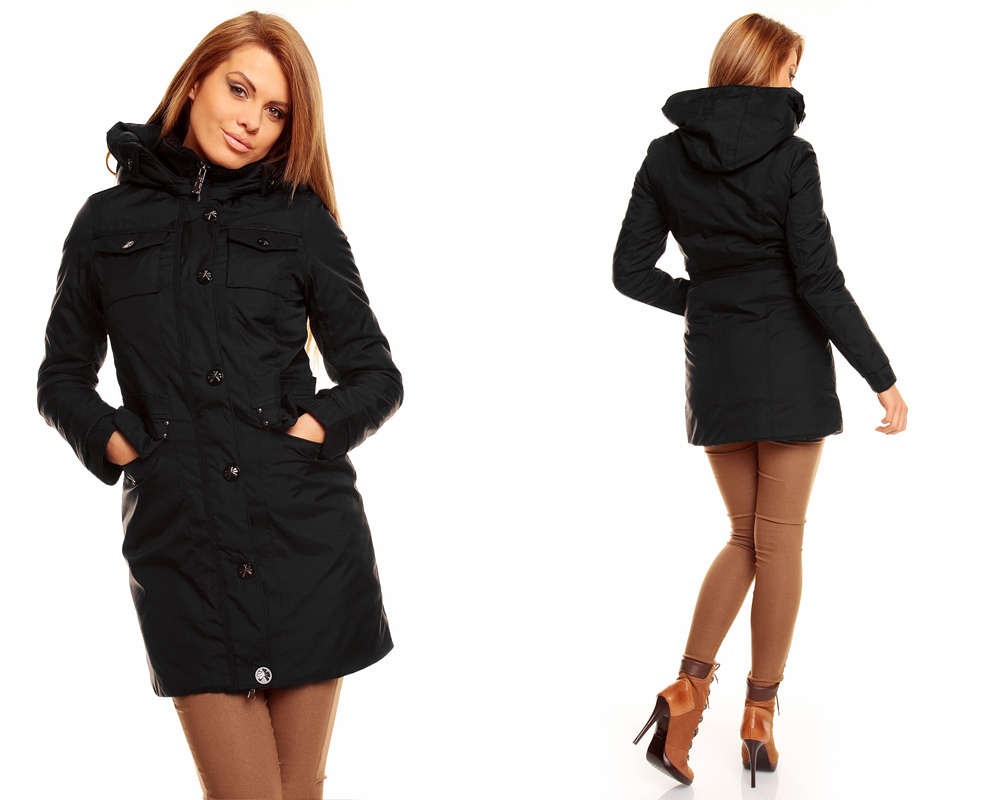 damen winter jacke mantel kurz mantel parka trenchcoat mit kapuze ebay. Black Bedroom Furniture Sets. Home Design Ideas