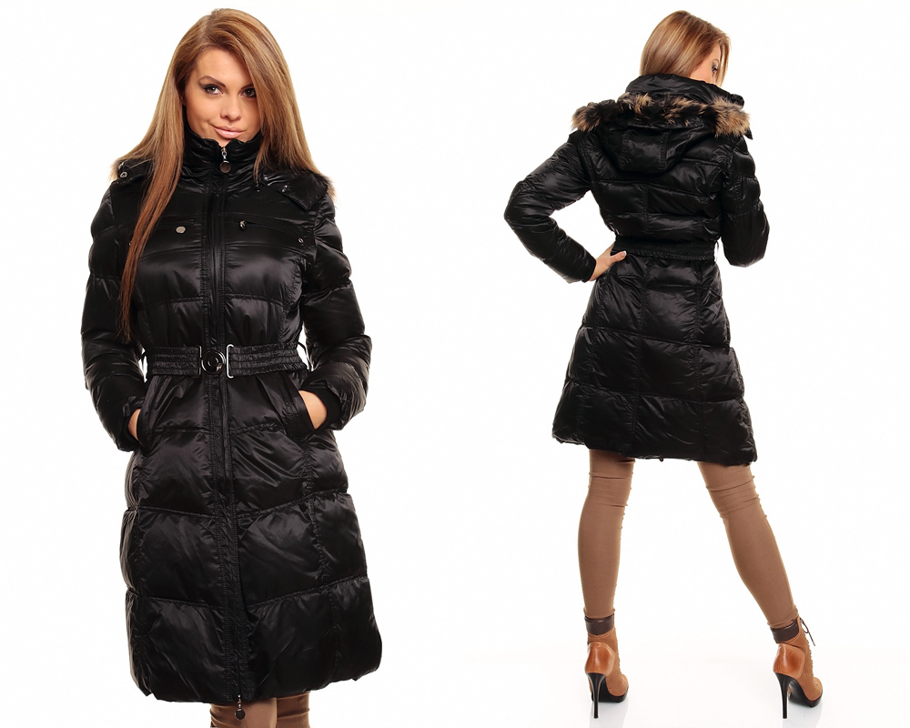 ladies quilted coat winter coat quilted jacket with fur hood ebay. Black Bedroom Furniture Sets. Home Design Ideas