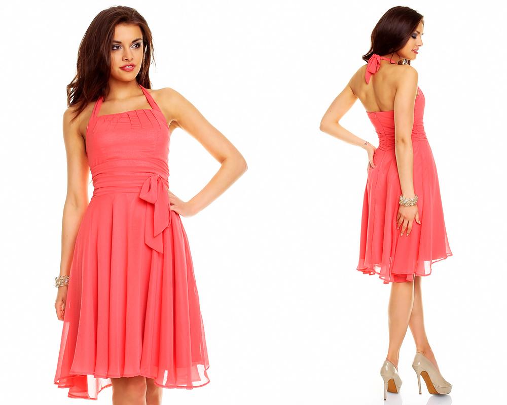 Neckholder Kleid Chiffon Ballkleid Abendkleid ...