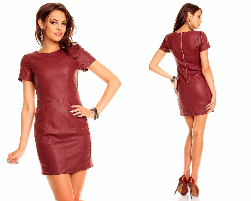 Leder Kleid Lederimitat Businesskleid Kostüm Minikleid ...