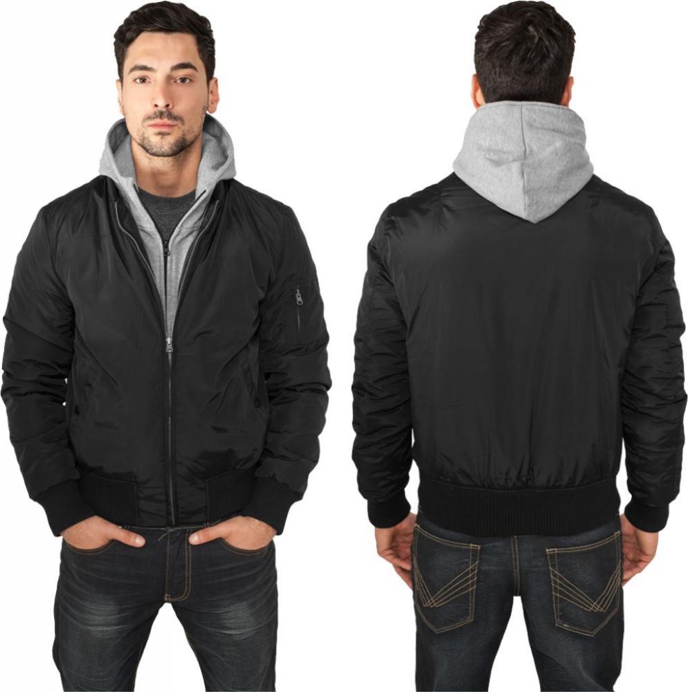 urban classics hooded bomber jacket herren bomber jacke mit kapuze. Black Bedroom Furniture Sets. Home Design Ideas