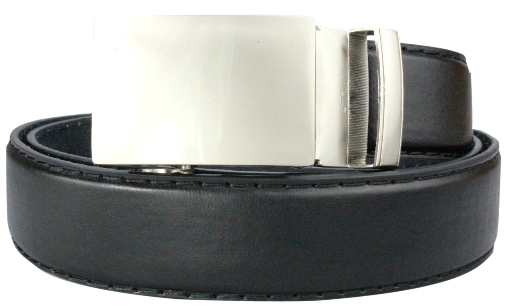 Herren-Lederguertel-Automatik-Guertel-110-135cm-schwarz-versch-Varianten