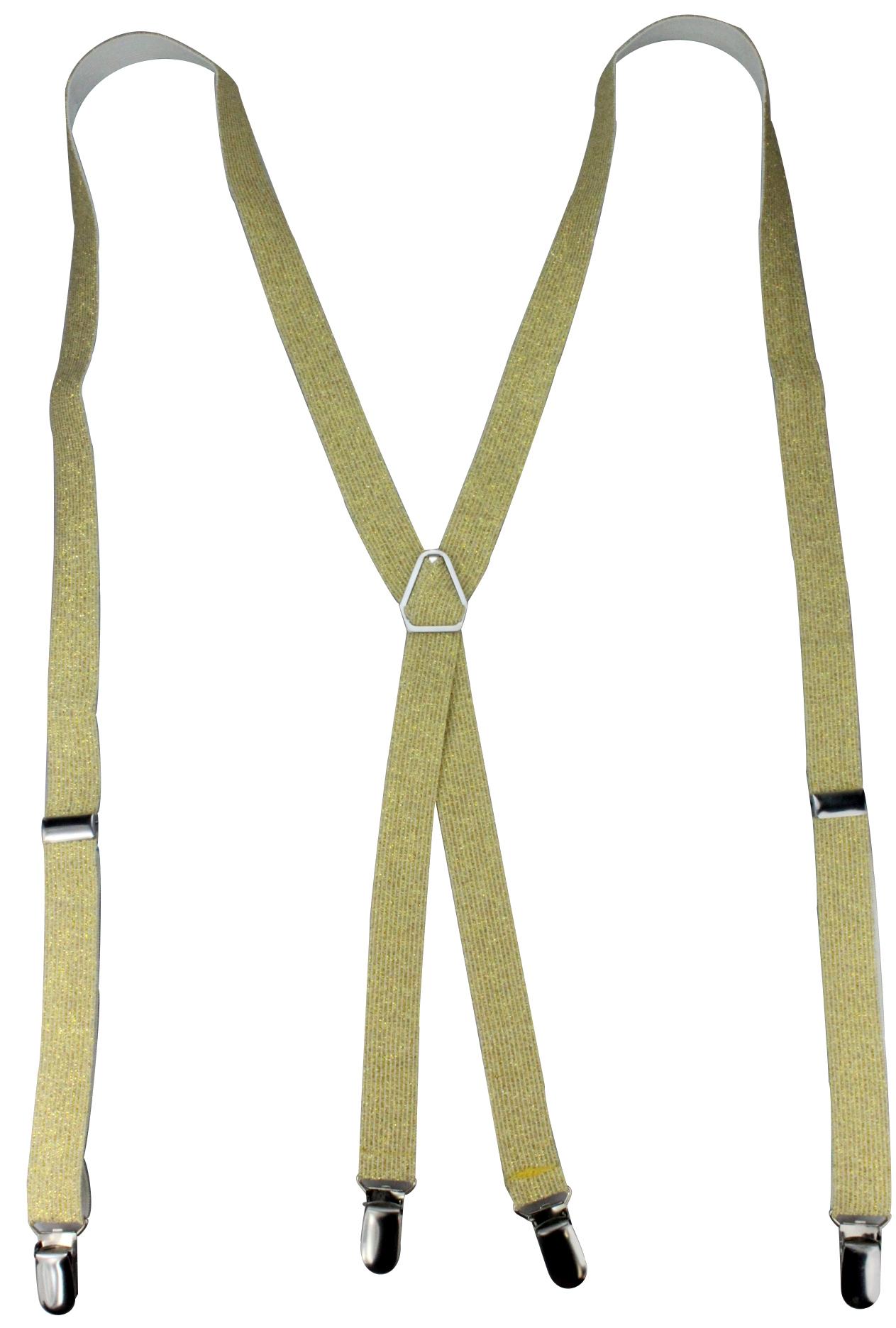 4 Clips Hosenträger für Damen und Herren in silber, gold oder pink metallic 25mm