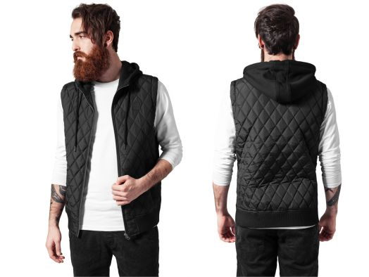 urban classics diamond quilted hooded vest herren weste rmellose jacke ebay. Black Bedroom Furniture Sets. Home Design Ideas