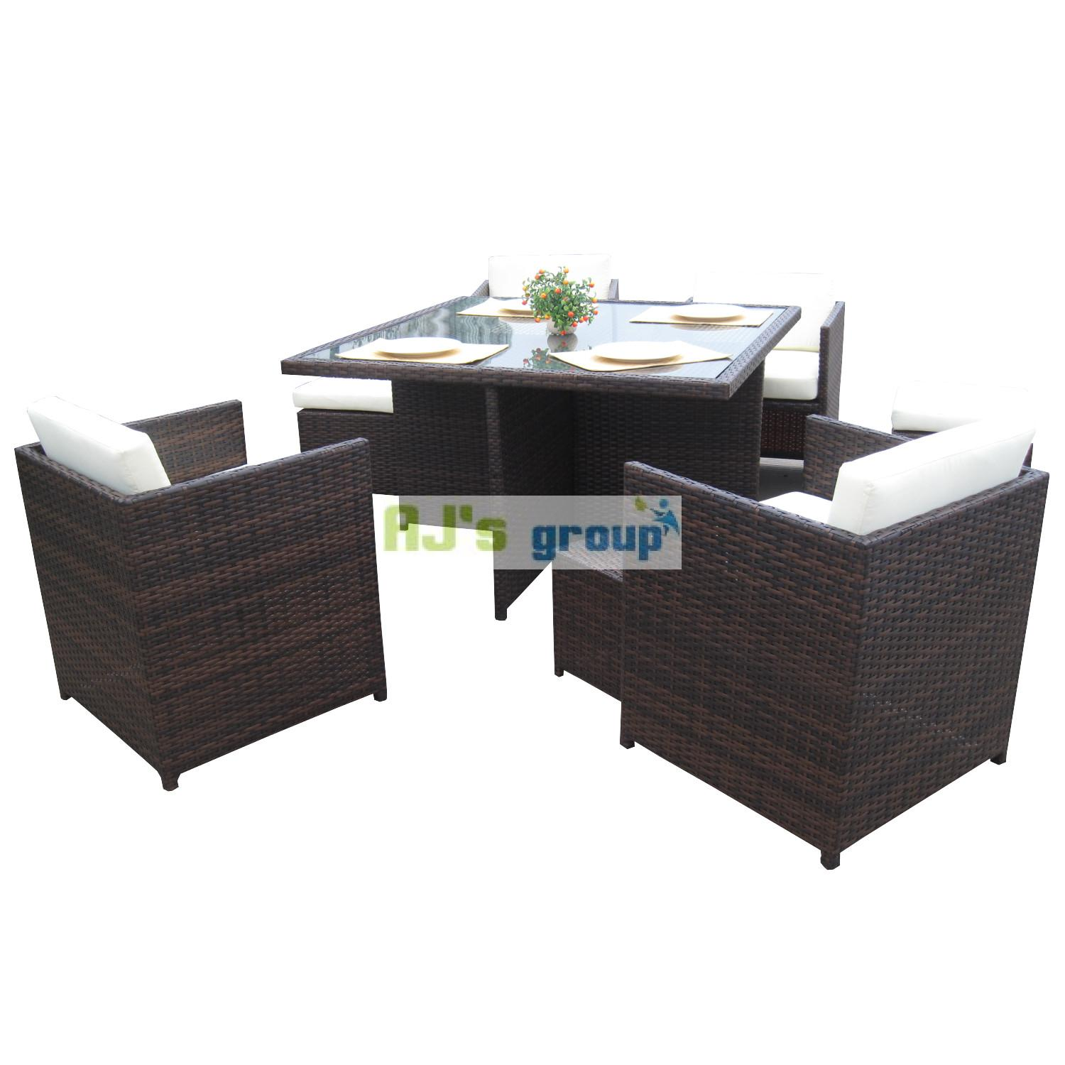poly rattan essgruppe san jose alu gartenm bel garnitur lounge garten sitzgruppe ebay. Black Bedroom Furniture Sets. Home Design Ideas