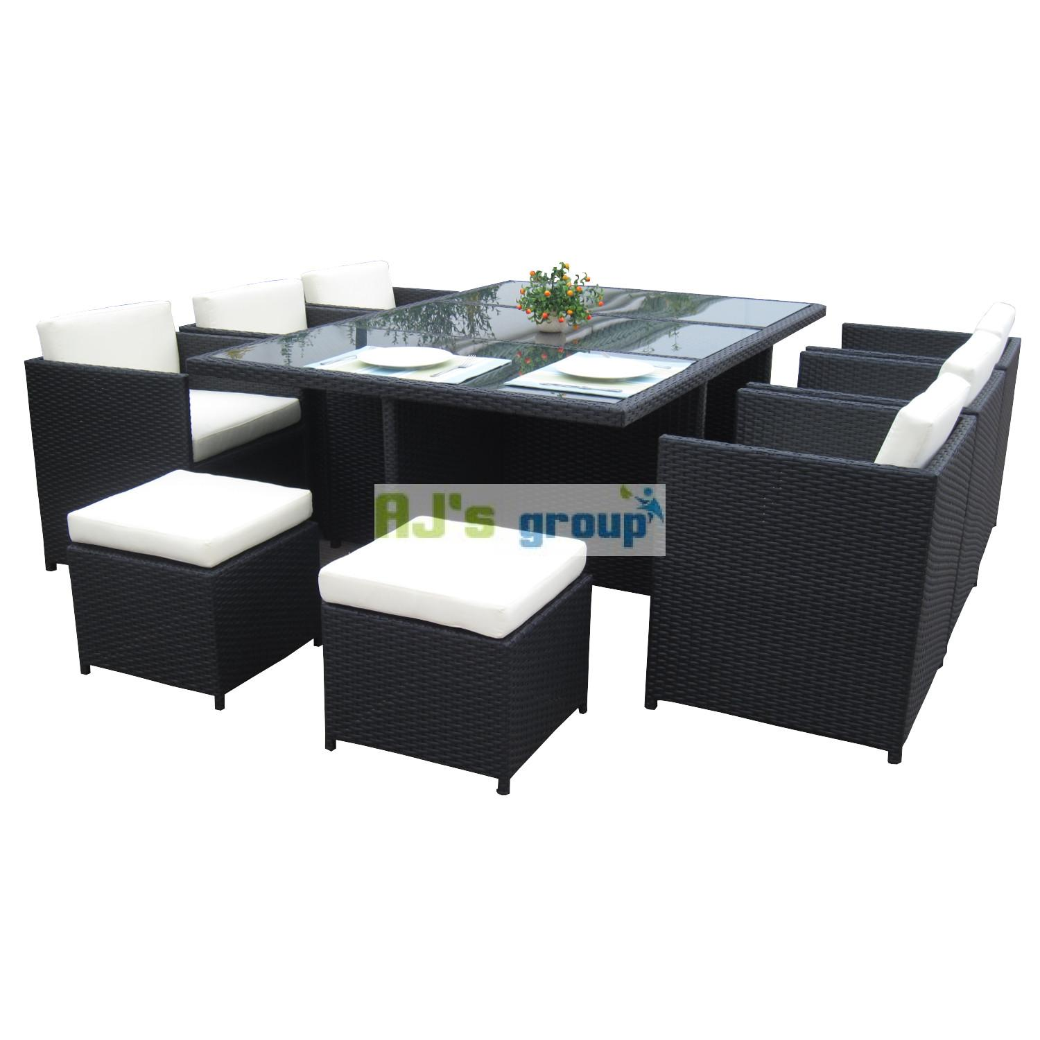 poly rattan essgruppe san diego gartenm bel garnitur lounge garten sitzgruppe ebay. Black Bedroom Furniture Sets. Home Design Ideas