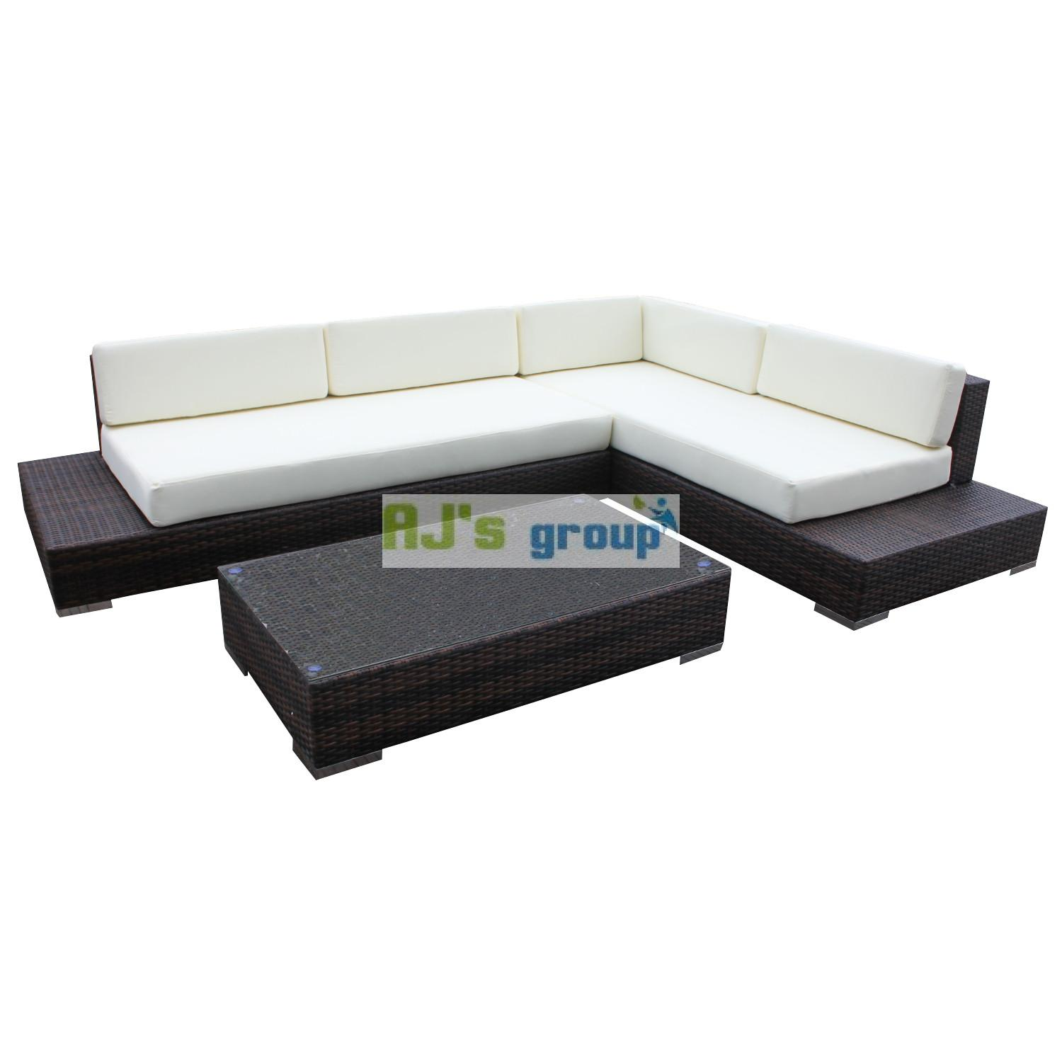 poly rattan gartenm bel atlanta alu garnitur lounge garten sitzgruppe gartenset ebay. Black Bedroom Furniture Sets. Home Design Ideas