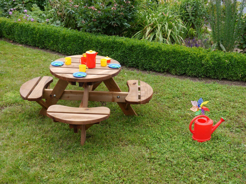 kinder garnitur sitzgruppe garten sitzgarnitur picknicktisch aus holz abgerundet ebay. Black Bedroom Furniture Sets. Home Design Ideas
