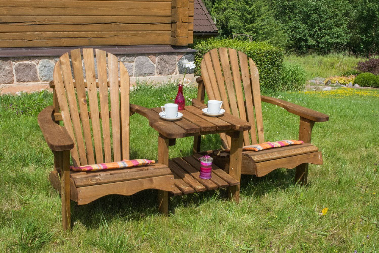 holz doppel liegestuhl garnitur gartenliege gartenm bel allround relax 2 braun ebay. Black Bedroom Furniture Sets. Home Design Ideas
