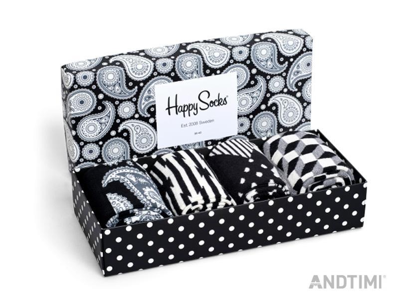 happy socks 4er pack paisley gift box geschenk box schwarz wei ebay. Black Bedroom Furniture Sets. Home Design Ideas