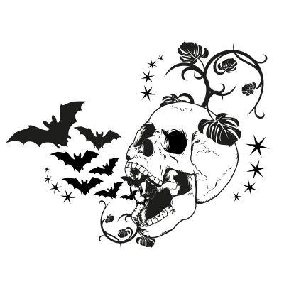 t011 totenkopf mit flederm usen aufkleber tattoo skull. Black Bedroom Furniture Sets. Home Design Ideas