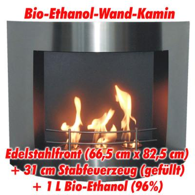 bio ethanol bioethanol wand edelstahl kamin ofen ethanolkamin kaminofen ebay. Black Bedroom Furniture Sets. Home Design Ideas