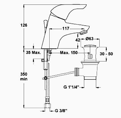 idealstandard ceraplan wachtischarmatur b3689aa. Black Bedroom Furniture Sets. Home Design Ideas