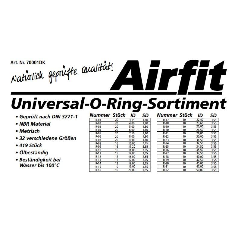 universal o ring sortiment airfit 419 st ck 32 sorten. Black Bedroom Furniture Sets. Home Design Ideas