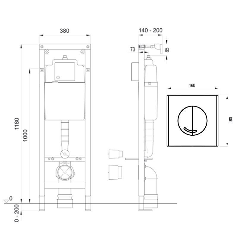 wisa xs wc element inkl bedientaste argos df komplett set vorwandelement ebay. Black Bedroom Furniture Sets. Home Design Ideas