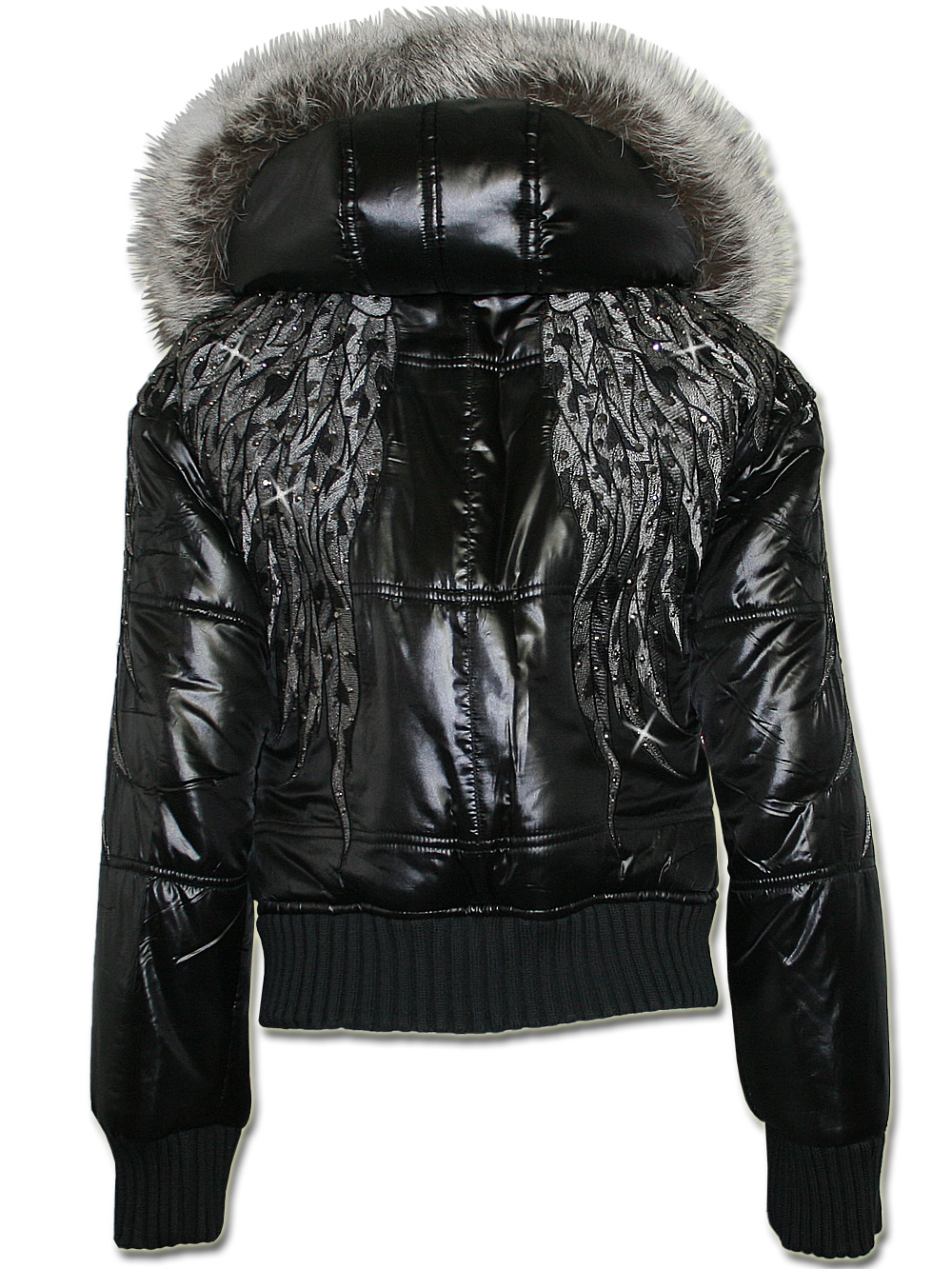 philipp plein damen strass dauenjacke in schwarz wings neu ebay. Black Bedroom Furniture Sets. Home Design Ideas