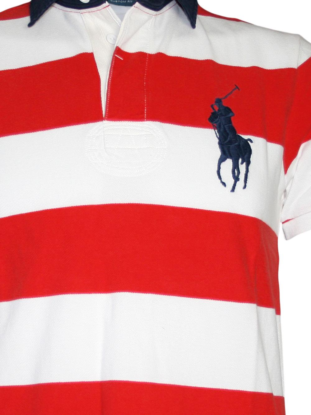 ralph lauren herren polo shirt striped pony rot weiss neu ebay. Black Bedroom Furniture Sets. Home Design Ideas