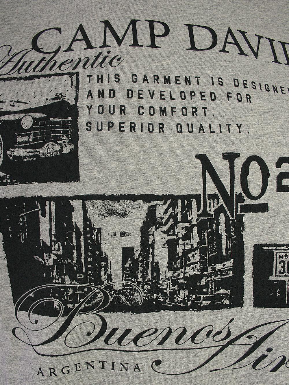 stylisches camp david herren t shirt buenos aires in grau neu ebay. Black Bedroom Furniture Sets. Home Design Ideas