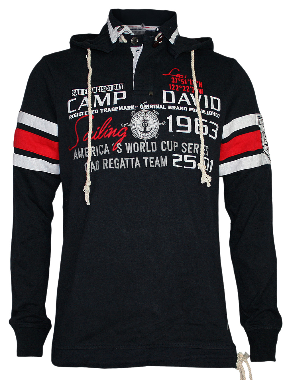 camp david herren hoodie pullover sailing cup 3 in navy blau neu ebay. Black Bedroom Furniture Sets. Home Design Ideas