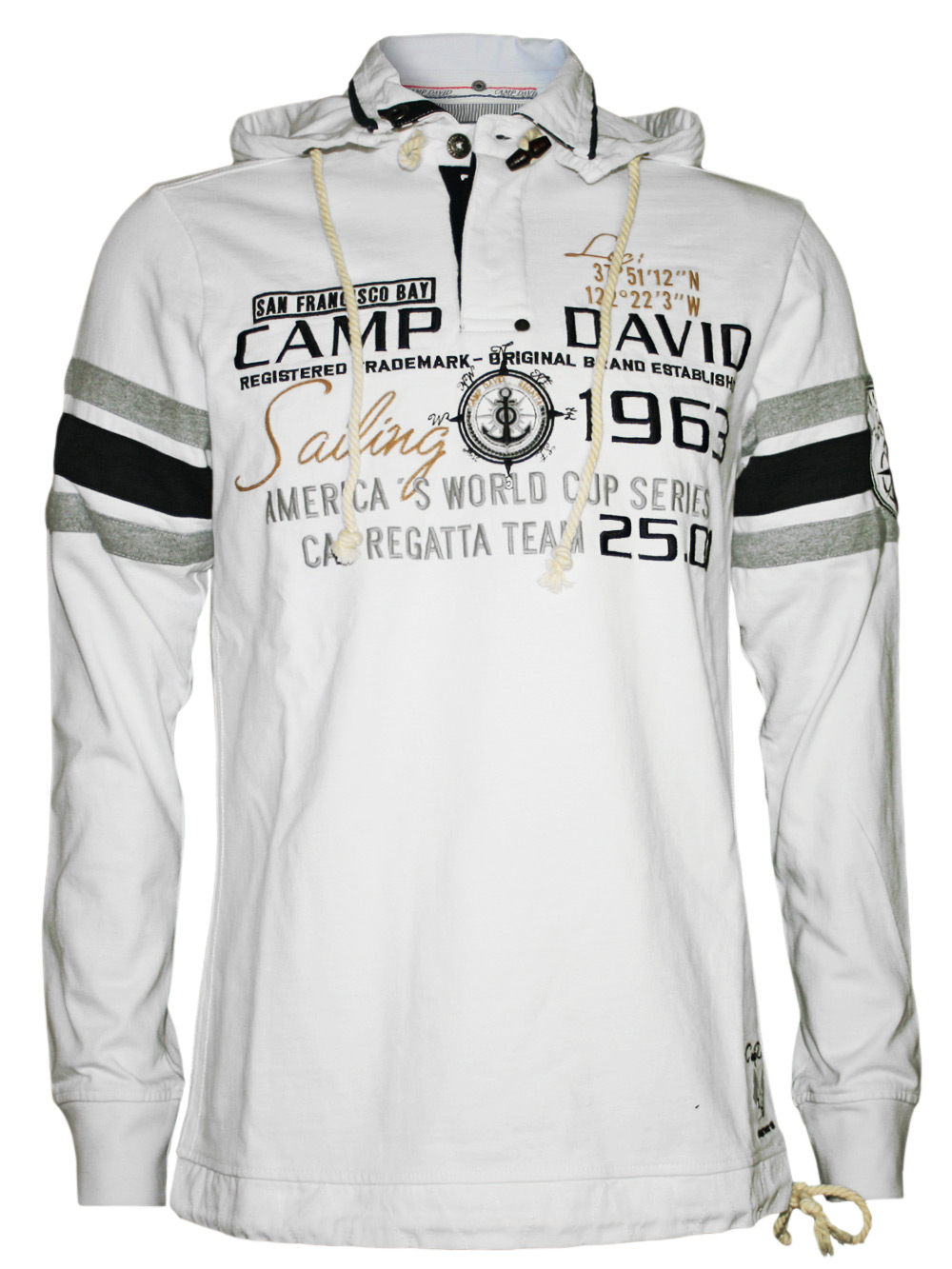 kuscheliger camp david herren hoodie pullover sailing cup 3 in weiss. Black Bedroom Furniture Sets. Home Design Ideas