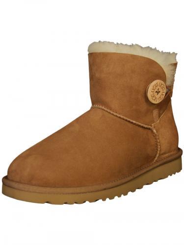 edle ugg boots damen lammfell schuhe stiefel mini bailey button in braun neu ebay. Black Bedroom Furniture Sets. Home Design Ideas