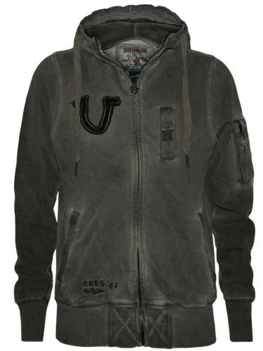 stylische true religion herren hoodie pullover jacke flag in schwarz neu ovp. Black Bedroom Furniture Sets. Home Design Ideas