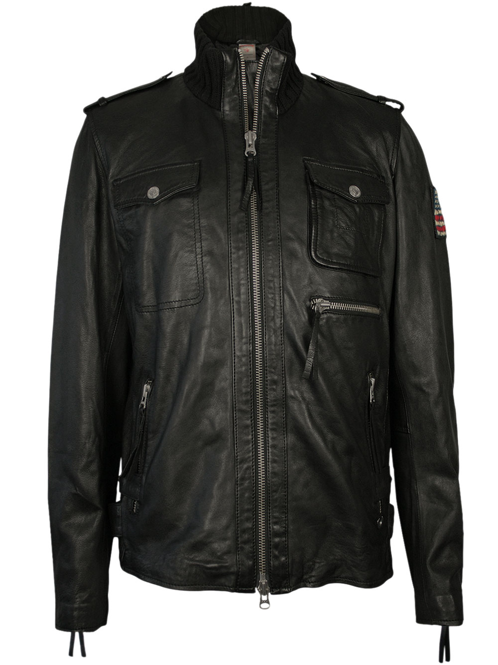 classy true religion men 39 s leather jacket knitted funnel. Black Bedroom Furniture Sets. Home Design Ideas