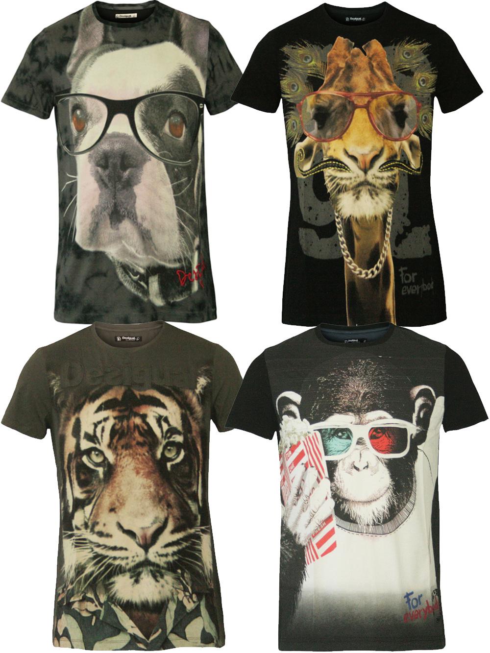 stylische desigual herren sommer t shirts mit animal print. Black Bedroom Furniture Sets. Home Design Ideas