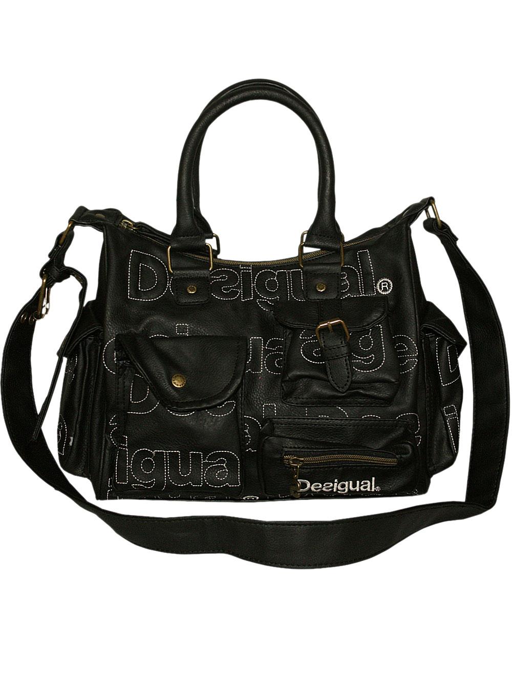 desigual damen handtasche minilondon monogram in negro schwarz neu ovp ebay. Black Bedroom Furniture Sets. Home Design Ideas