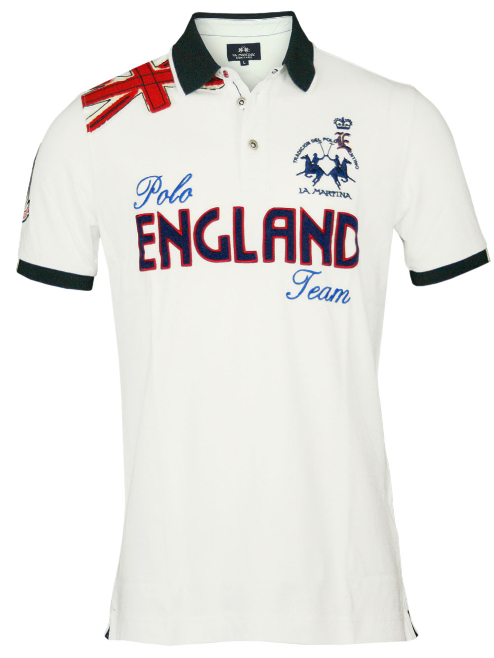 edles la martina herren polo shirt england in weiss m. Black Bedroom Furniture Sets. Home Design Ideas