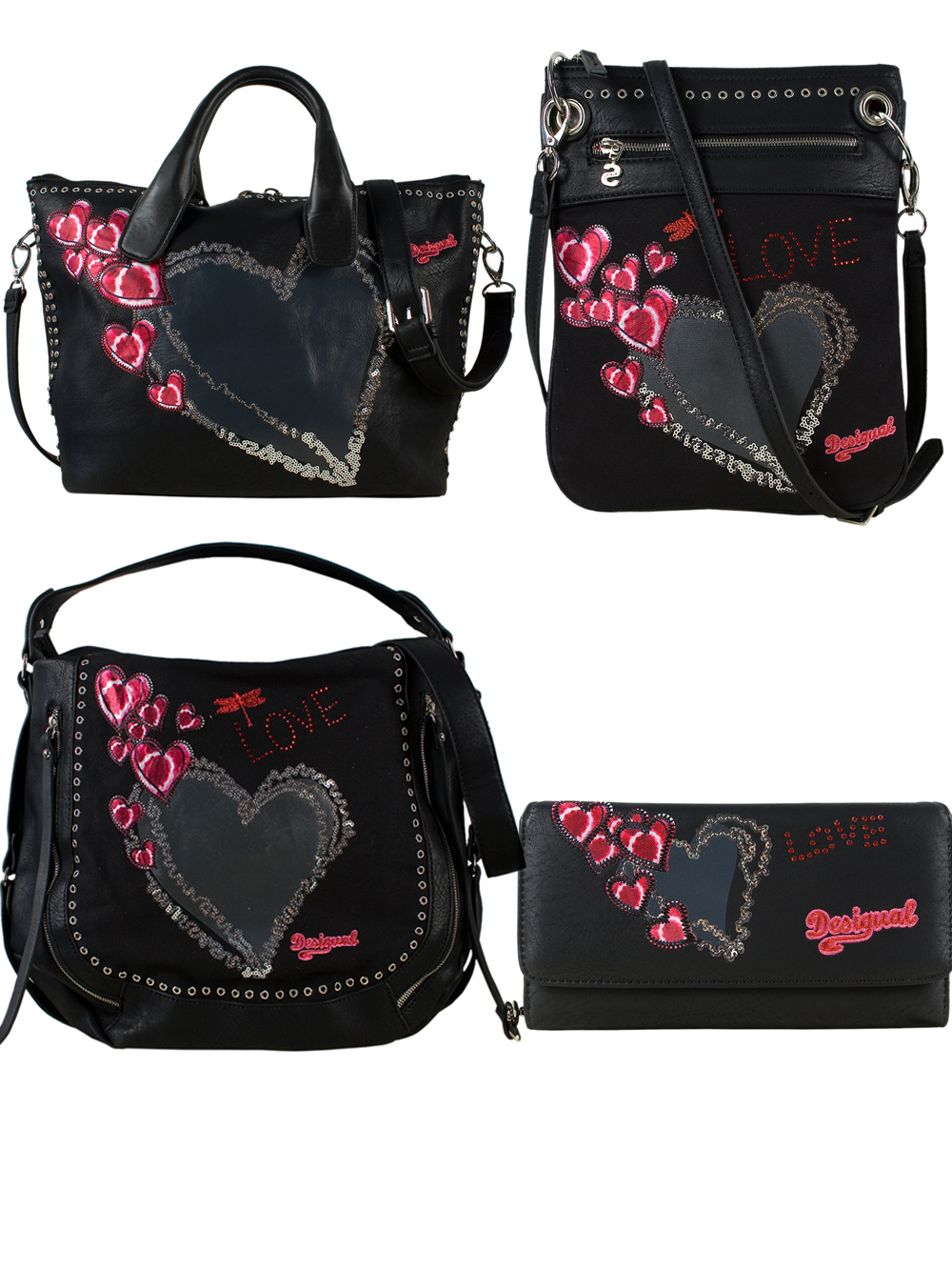 sac a main desigual clutch sac london sac bandouli re coeur de punk. Black Bedroom Furniture Sets. Home Design Ideas
