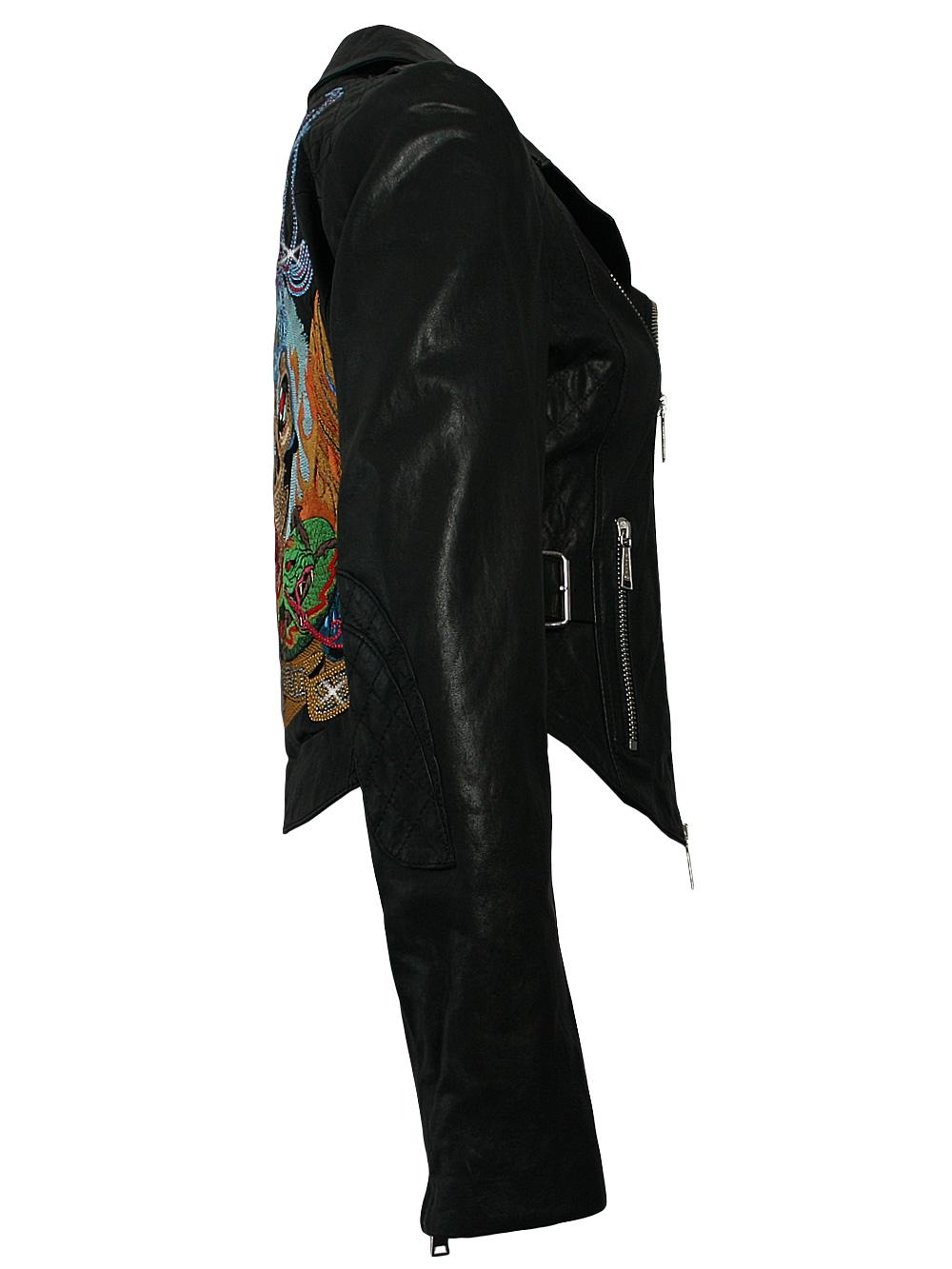 philipp plein damen blazer leder strass jacke in schwarz. Black Bedroom Furniture Sets. Home Design Ideas