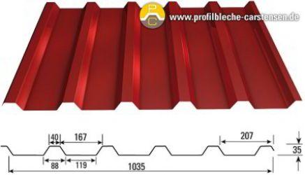 profilbleche trapezbleche trapezblech bc 35 207 rot 3009 0 75 mm ebay. Black Bedroom Furniture Sets. Home Design Ideas
