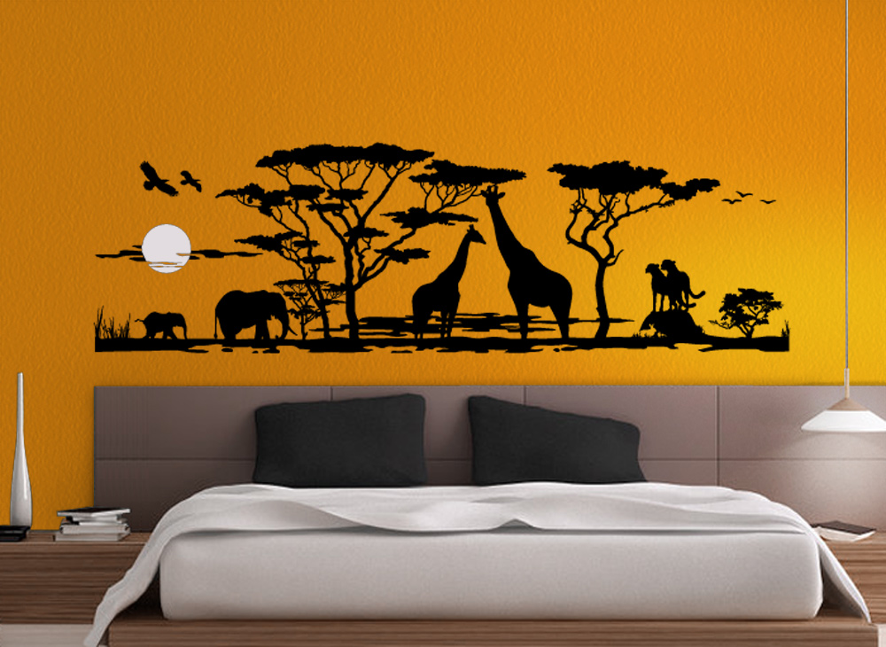 wandtattoo afrika landschaft savanne elefanten giraffen. Black Bedroom Furniture Sets. Home Design Ideas