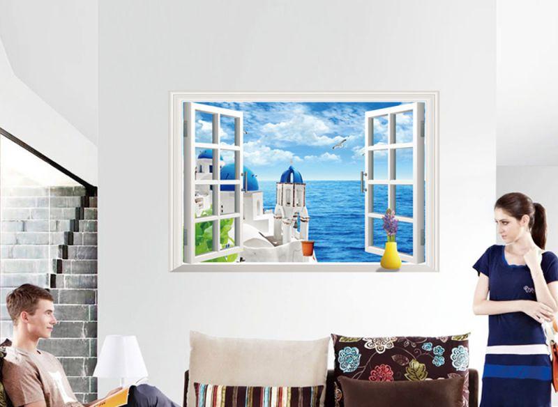 Wandtattoo Wandaufkleber Wandsticker offenes Fenster Meerblick Wohnzimmer W1467  eBay