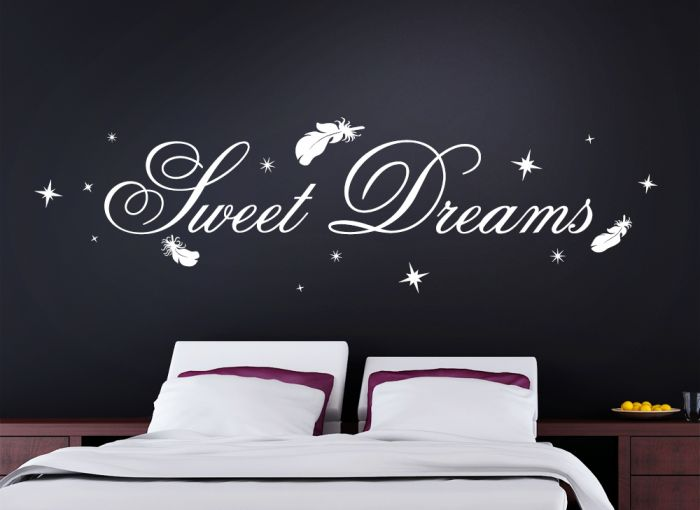 wandtattoo sweet dreams sterne schlafzimmer w914 ebay. Black Bedroom Furniture Sets. Home Design Ideas