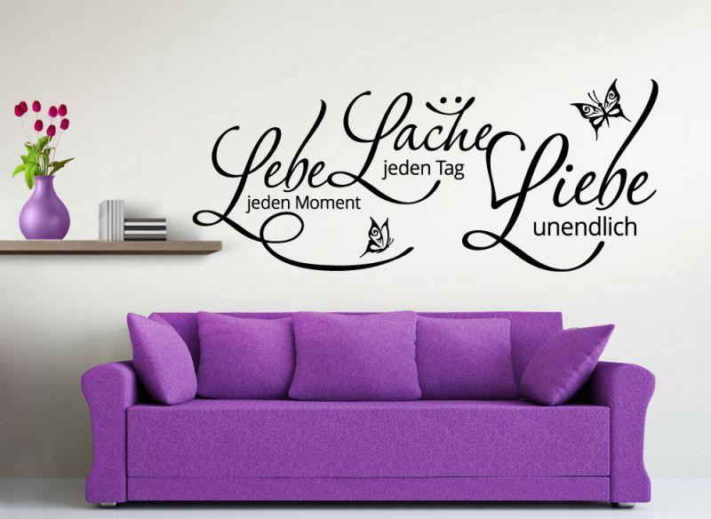 wandtattoo wandsticker wandaufkleber zitat lebe lache liebe schmetterlinge w909 ebay. Black Bedroom Furniture Sets. Home Design Ideas