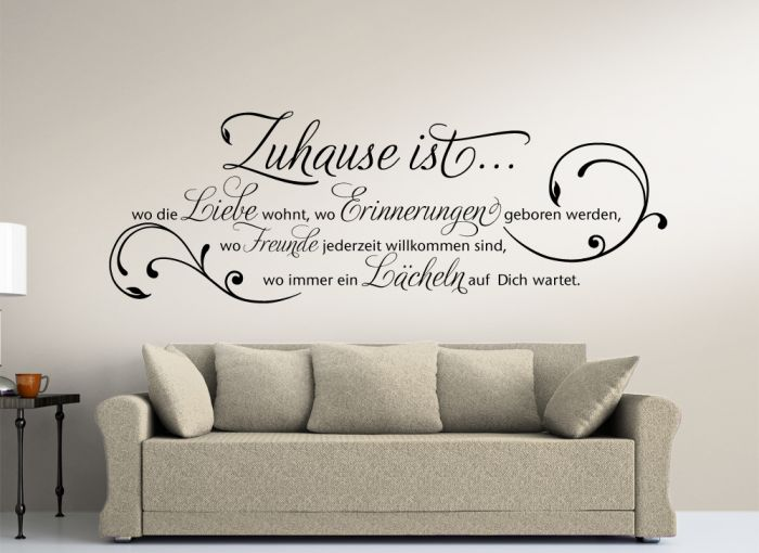 wandtattoo zitat zuhause ist wo die liebe wohnt w942. Black Bedroom Furniture Sets. Home Design Ideas